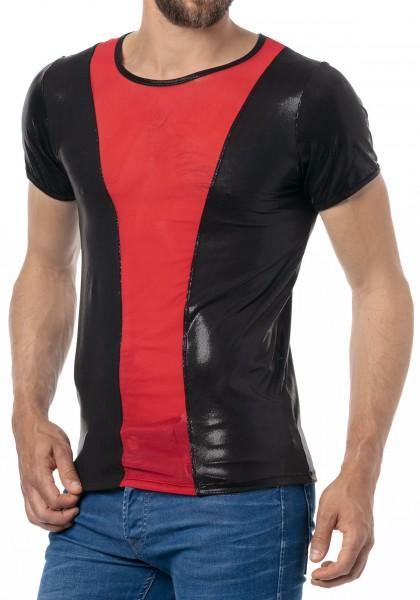 Latex ähnliches Herren Shirt mit rotem Einsatz