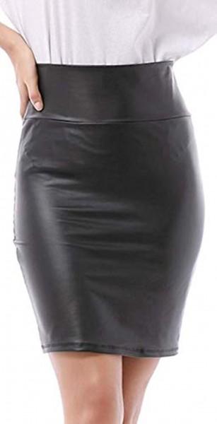 Verano Damen Rock Stretch Knielang Leder Optik Wetlook QZ13-03 schwarz