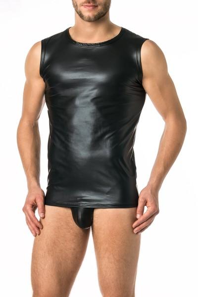 Verano Latex ähnliche Herren Shirt 0/0 Arm- Vinyl -Tank Top- schwarz