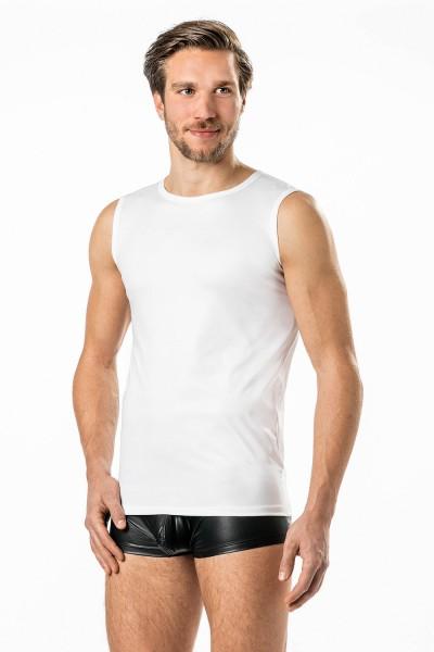Verano Latex ähnliche Herren Shirt 0/0 Arm- Vinyl -Tank Top- weiss