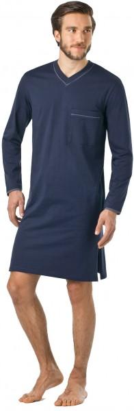 Herren Nachthemd mit langem Arm in saphirblau